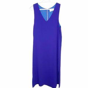 Everly blue midi zip back tank dress sz L